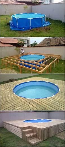 piscine bois hors sol semi enterrée deco jardin piscine hors sol