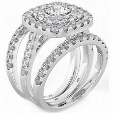 925 silver 3 piece wedding engagement cut