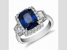 Sapphire and Diamond Halo Three Stone Ring in 18k White