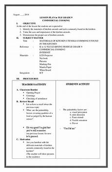 pdf detailed lesson plan in tle kitchen utensils and