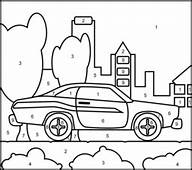 Muscle Car  Printable Color By Number Page Vehicles Each