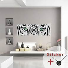 Sticker Horloge Murale Tigre Blanc Pas Cher Stickers