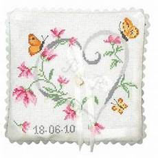 heart of flowers ring pillow cross stitch needlepoint