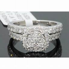 wholesale diamonds 10k white gold 2 carat womens real diamond engagement ring wedding band