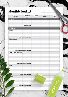 download printable monthly budget with total expense sections pdf