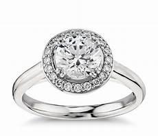 plain shank halo engagement ring in platinum blue nile
