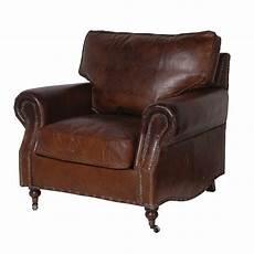 vintage brown leather armchair furniture la maison chic