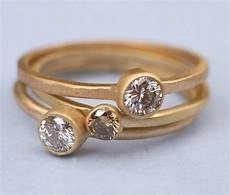 chic recycled gold wedding bands and diamond engagement ring onewed com
