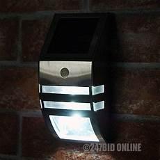 led stainless steel solar powered pir motion sensor door security wall light ebay