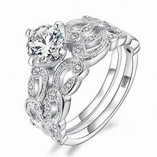 infinity white gold filleld rings for simple double stackable fashion jewelry bridal sets