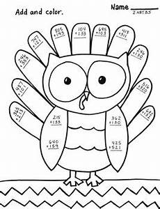 3 digit addition with regrouping coloring worksheets 9704 three digit addition no regrouping owl turkey thanksgiving color sheet 2 nbt b 5