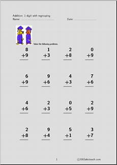 addition worksheets single digit 9035 addition 1 digit set 3 worksheet abcteach