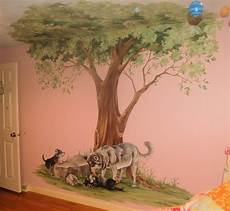 Tree Mural With Wolves Traditional Boston By