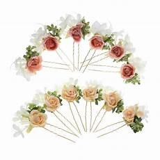 12pcs wholesale lot bohemian fashion bridal flower hairpins rose hair stick wreath diy handmade