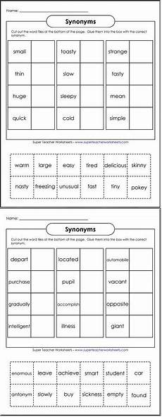 cut and glue the words to make pairs of synonyms