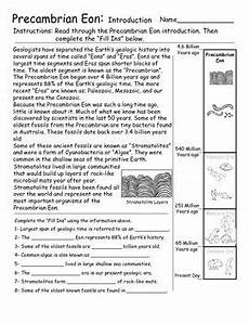 geologic time eon and eras introduction activities