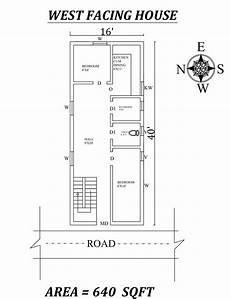 west facing house plans per vastu 16 x40 640 sqft 2bhk west facing house plan as per