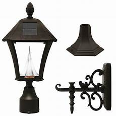 gama sonic baytown solar led or wall outdoor light fixture in black the home