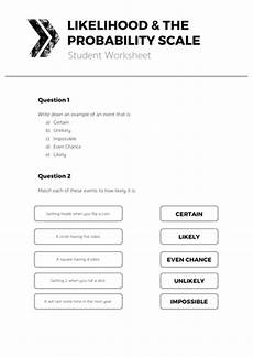 probability scale worksheet with answers 5988 likelihood the probability scale complete lesson by tomotoole teaching resources tes