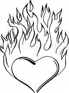 coloring pages of hearts with flames free on