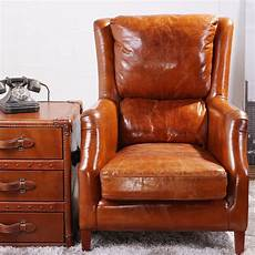 fauteuil en cuir dossier haut pilote deluxe en cuir vintage wing fauteuil