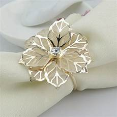 wholesale gold metal flower napkin rings for hotel wedding banquet table decoration accessories