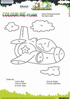 printable numbers math olympiad worksheets for kids of lkg colour me plane