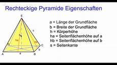 rechteckige pyramide eigenschaften