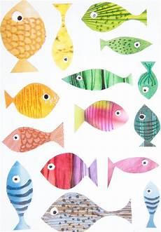 fische basteln mit kindern fische aus knallbunten