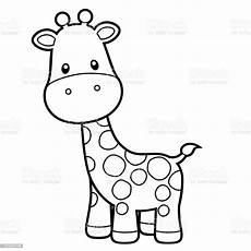 giraffe coloring page vector illustration on white