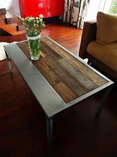 handmade rustic reclaimed wood steel coffee table vintage
