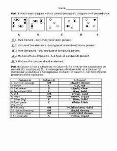 elements compounds mixtures worksheet with answer key tpt