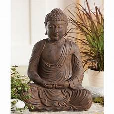sitting garden buddha statue with antique finish dharmacrafts
