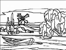 Malvorlagen Landschaften Gratis Gratis Windmuehle Mit Boot Ausmalbild Malvorlage Landschaften
