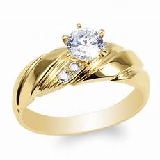 womens 14k yellow gold cz luxury engagement wedding
