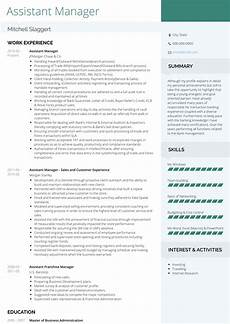 assistant manager resume sles and templates visualcv