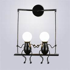 led wall light fixtures creative double little people mini wall sconces lighting bedside l