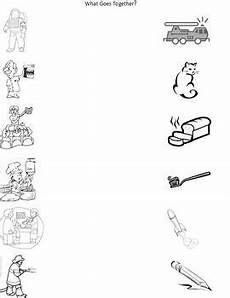 community helpers worksheets for pre k community helpers what goes together matching practice for pre k or kg