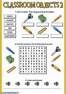 worksheets classroom objects 18220 classroom objects 2 interactive worksheet