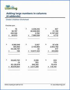 grade 5 addition subtraction worksheets free