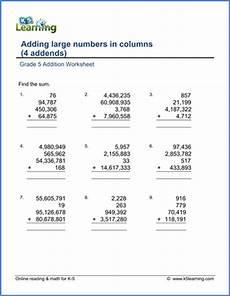 adding decimals word problems worksheet 5th grade 11230 grade 5 math worksheet addition adding four large numbers k5 learning