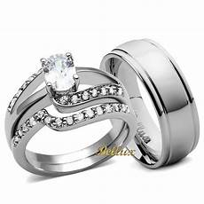his and hers wedding ring sets s oval cz rings men s matching band ebay