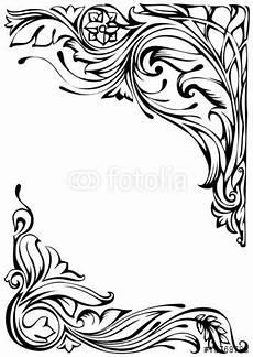 vektor floral corner ornament jugendstil ornamente