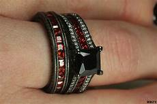 gothic engagement wedding ring black princess cut