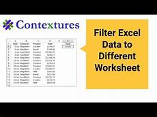 filter excel data to a different worksheet youtube