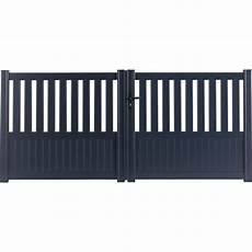 Portail Battant Aluminium Penmarch Gris Naterial L 350 Cm