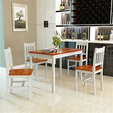 Furniture Kitchen Sets Gymax 5 Dining Table Set 4 Chairs Solid Wood Home