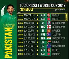 world cup 2019 pakistan squad fixtures venue and match timing crictracker