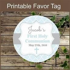 first holy communion blue favor tags printable label
