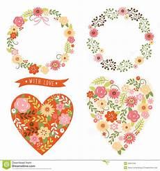 Malvorlage Herz Mit Blumen Blumenrahmen Und Herz Mit Blumen Stockfotografie Bild